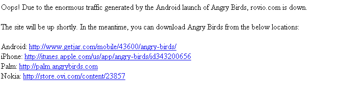 Rovio's website goes down thanks to Angry Birds - Droid Gamers