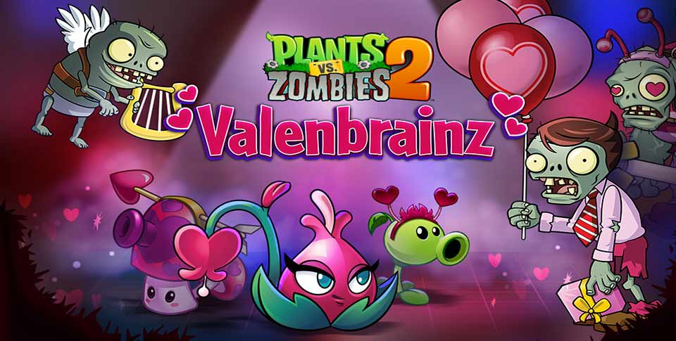 Plants vs zombies 2 starts up a 13 day valenbrainz event today plants vs zombies 2 usually has special in game events themed after most holidays and valentines day is no exception to the rule voltagebd Choice Image
