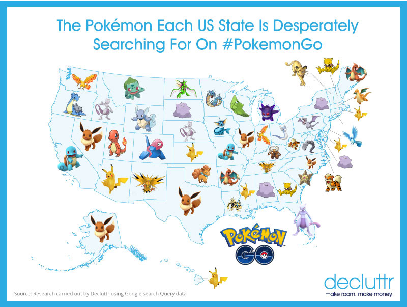 Here\'s a map of the most sought after Pokemons by each US ...