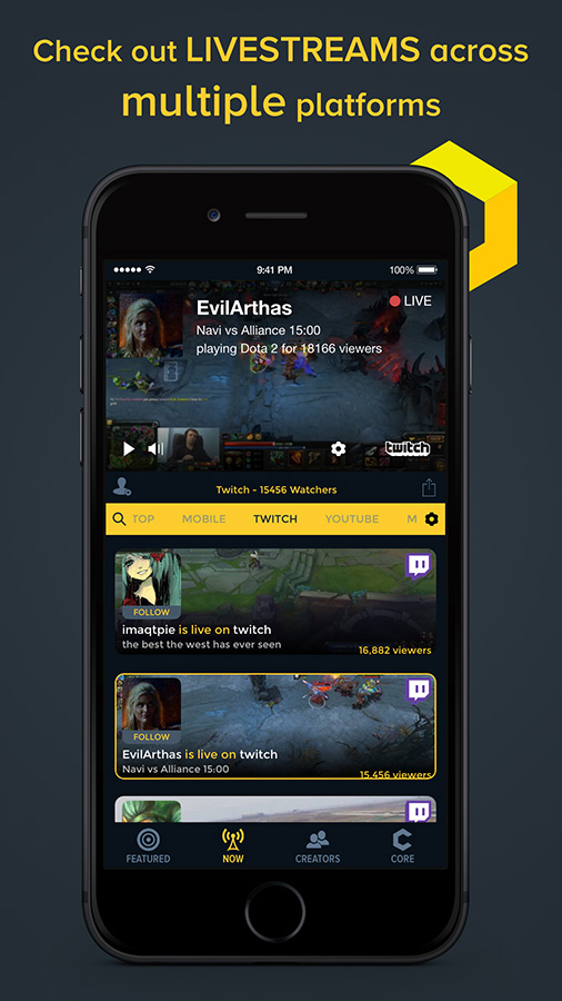 core is a new mobile app that focuses on mobile gaming videos and