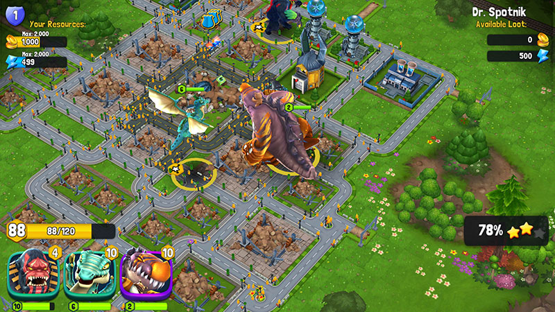 Destroy Cities Using Monsters While Protecting Your Own In